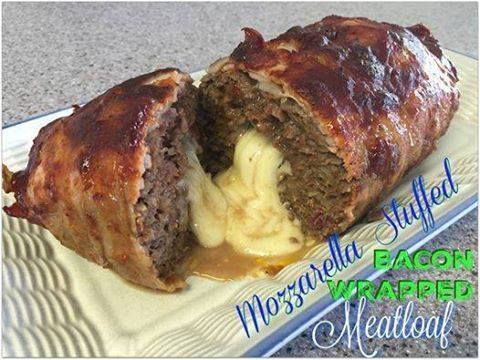 Mozzarella Stuffed Bacon Wrapped Meatloaf